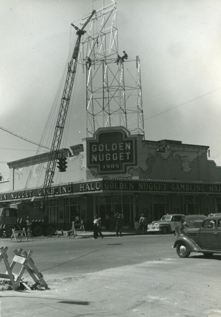 Constrution begins on Boernge's addition to the Golden Nugget facade.